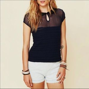 Free People Navy Blue Ruffle Your Feathers Top NWT
